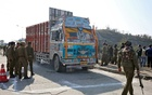 Indian security forces stand around a truck which was used by suspected militants, at the site of a gun battle at Nagrota, on the outskirts of Jammu, January 31, 2020. REUTERS