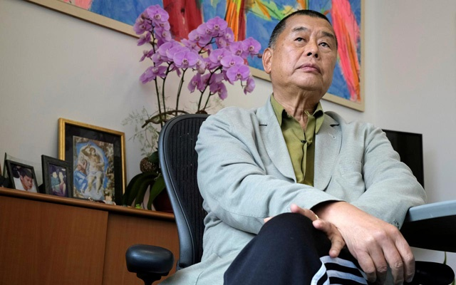 FILE PHOTO: Media mogul Jimmy Lai Chee-ying, founder of Apple Daily speaks during an interview to response national security legislation in Hong Kong, China May 29, 2020. REUTERS/Tyrone Siu