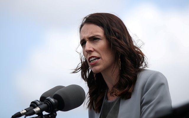 FILE PHOTO: New Zealand Prime Minister Jacinda Ardern speaks during a joint press conference held with Australian Prime Minister Scott Morrison at Admiralty House in Sydney, Australia, February 28, 2020. REUTERS