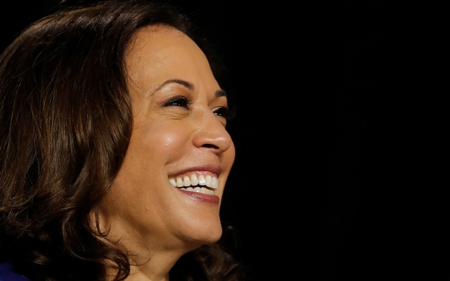 Democratic vice presidential candidate Senator Kamala Harris smiles at a campaign event, on her first joint appearance with presidential candidate and former Vice President Joe Biden after being named by Biden as his running mate, at Alexis Dupont High School in Wilmington, Delaware, US, Aug12, 2020. REUTERS