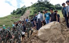 The village of Lidi in Nepal, on Friday, Aug. 14, 2020, after a landslide. A landslide caused in part by unusually heavy rain in a district of Nepal bordering China buried dozens of homes early Friday, killing at least 11 people and leaving 27 others missing, officials said. (Shreedhar Neupane via The New York Times)