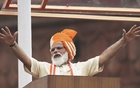 Indian Prime Minister Narendra Modi addresses the nation during Independence Day celebrations at the historic Red Fort in Delhi, India, August 15, 2020. REUTERS