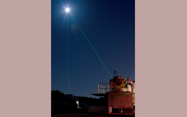 An image provided by NASA/Goddard, a laser beamed at the Lunar Reconnaissance Orbiter from the Goddard Space Flight Center's Laser Ranging Facility in Greenbelt, Md., Sept. 18, 2010. Researchers have used reflective prisms left on the moon's surface for decades, but had increasingly seen problems with their effectiveness. (NASA/Goddard via The New York Times)