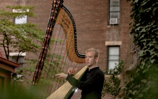"""Harpist Parker Ramsay in New York, Aug 12, 2020. Ramsay has arranged the """"Goldberg"""" Variations, a keyboard classic, for the modern pedal harp. Amr Alfiky/The New York Times"""