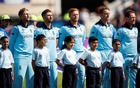 England's Joe Root, Mark Wood, Jonny Bairstow, Jos Buttler and Eoin Morgan line up before the match Action Images via Reuters/Andrew Boyers