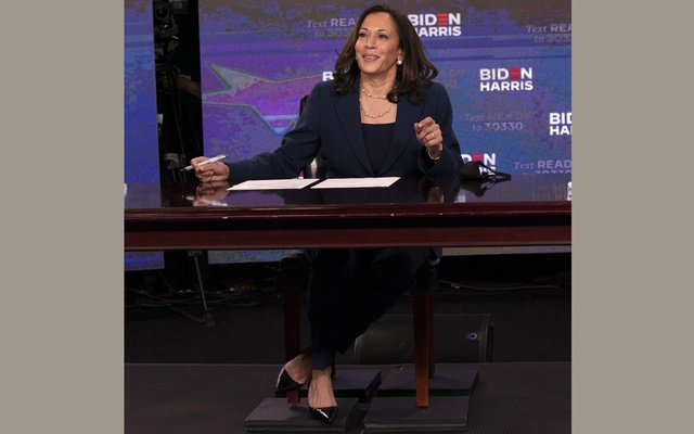 Sen Kamala Harris, Joe Biden's running mate, signs required documents for receiving the Democratic nomination for vice president of the United States, in Wilmington, Del, Aug 14, 2020. The New York Times