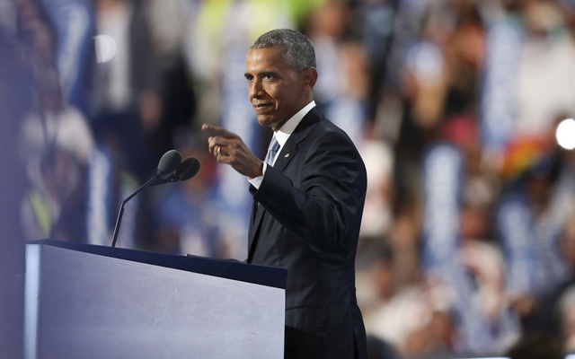 President Barack Obama adresses the Democratic National Convention at the Wells Fargo Centere in Philadelphia, July 27, 2016. The New York Times