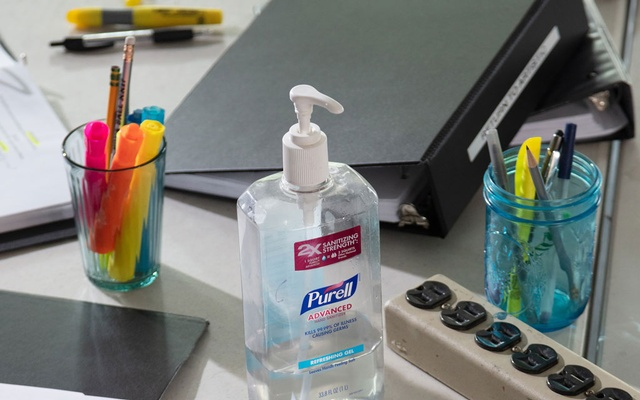 A bottle of Purell hand sanitiser on a desk at Ars Nova, a nonprofit theatre company, in New York, Jul 8, 2020. Chris Maggio/The New York Times