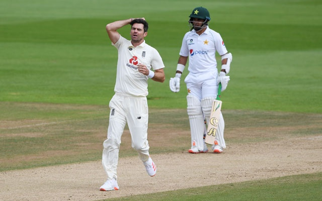 England v Pakistan - Ageas Bowl, Southampton, Britain - August 24, 2020 England's James Anderson reacts, as play resumes behind closed doors following the outbreak of the coronavirus disease (COVID-19) Mike Hewitt/Pool via REUTERS