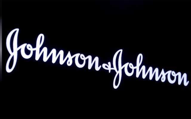 The company logo for Johnson & Johnson is displayed on a screen to celebrate the 75th anniversary of the company's listing at the New York Stock Exchange (NYSE) in New York, US, Sept 17, 2019. REUTERS