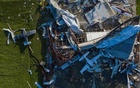 Destroyed planes lie damaged around a Southland Field hanger in the aftermath of Hurricane Laura in Sulphur, Louisiana, August 27, 2020. REUTERS/Adrees Latif