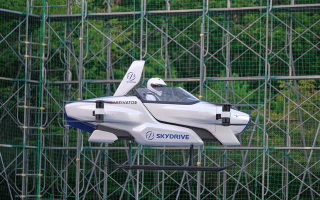 A manned flying car SD-03 is seen during a test flight session at Toyota test field in Toyota, central Japan. Via REUTERS