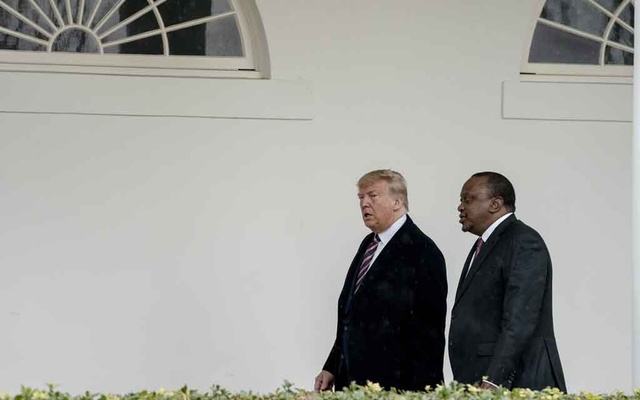Kenya's president, Uhuru Kenyatta, meets with President Donald Trump at the White House in Washington, Feb. 6, 2020. Faced with plunging profits and a climate crisis that threatens fossil fuels, the fossil fuel industry is demanding a trade deal that weakens Kenya's rules on plastics and on imports of American trash. (Anna Moneymaker/The New York Times)