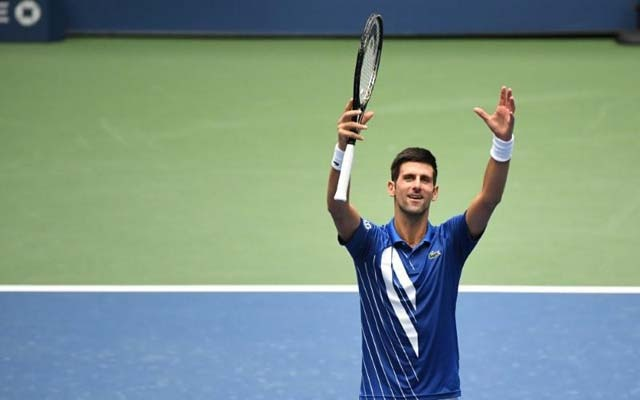 Sep 2, 2020; Flushing Meadows, New York, USA; Novak Djokovic of Serbia celebrates after his match against Kyle Edmund of the United Kingdom (not pictured) on day three of the 2020 U.S. Open tennis tournament at USTA Billie Jean King National Tennis Center. Danielle Parhizkaran-USA TODAY Sports