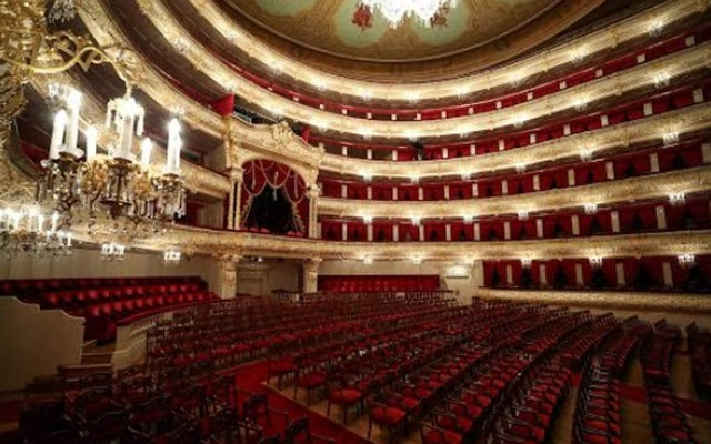 A general view shows the empty hall of the Bolshoi Theatre, in Moscow, Russia Mar 27, 2020. REUTERS