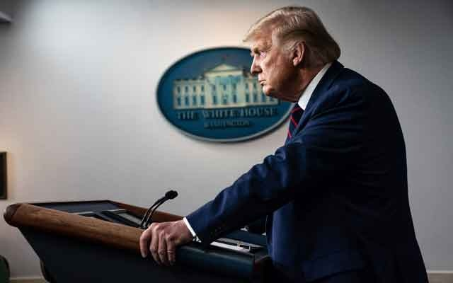 President Donald Trump speaks at a news conference at the White House in Washington, on Sept 4, 2020. Trump confronted a political crisis on Friday that could undercut badly needed support in the military community for his re-election campaign as he sought to dispute a report that he privately referred to American soldiers killed in combat as