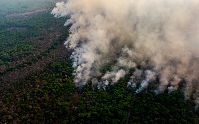 A wildfire burns towards a northern border of the Sesc Pantanal Reserve, the Brazil's largest private natural reserve, in the Pantanal, the country's huge wetlands, Aug 29, 2020. The New York Times