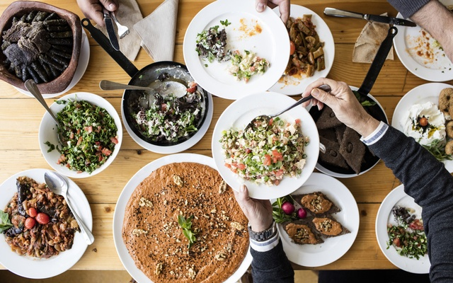 A variety of hot and cold dishes meant to be shared at Beit El Qamar, a guesthouse, near Deir el Qamar in Lebanon, April 23, 2019. The New York Times