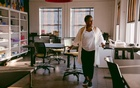 """Kimberly Bryant, the engineer and founder of the nonprofit group Black Girls Code, at the company's office in Oakland, Calif, Aug 27, 2020. Bryant says office encounters with colleagues of colour """"would lead to connections that were instrumental in terms of my success."""" Marissa Leshnov/The New York Times"""