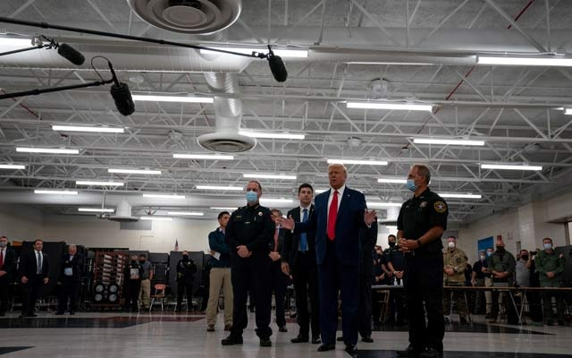 President Donald Trump greets law enforcement officers in Kenosha, Wis, Sept 1, 2020. After a summer when hundreds of thousands of people took to the streets protesting racial injustice against Black Americans, Trump has made it clear over the last few days that, in his view, the country's real race problem is bias against white Americans. Anna Moneymaker/The New York Times