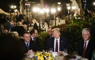 FILE -- President Donald Trump, second from right, hosts President Jair Bolsonaro of Brazil, left, at a dinner at Mar-a-Lago in Palm Beach on March 7, 2020. At right is National Security Adviser Robert O'Brien. (T.J. Kirkpatrick/The New York Times)