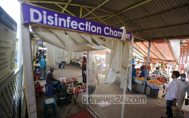 No one was using a disinfection chamber at Shimulia Launch Pier in Munshiganj on Sep 8, 2020 as the travellers appear to have lost interest in measures designed to protect themselves from the novel coronavirus although the outbreak has continued to rage. Photo: Mahmud Zaman Ovi