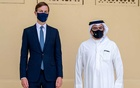 US President's senior adviser, Jared Kushner (L) and Bahrain's Crown Prince Salman bin Hamad Al Khalifa (R) pose for a press photo, during Kushner's visit to Manama, Bahrain, September 1, 2020. Bahrain News Agency/Handout via REUTERS