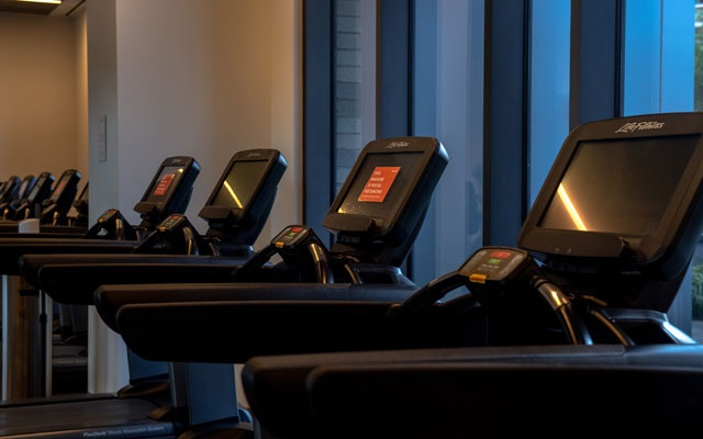 Treadmills in the gym at the Ashland, a Brooklyn rental apartment building, on Saturday, Sept 5, 2020. Every other treadmill has been unplugged so runners don't get too close. The New York Times