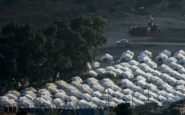 View of a temporary camp where refugees and migrants from the destroyed Moria camp will be accommodated, on the island of Lesbos, Greece, September 13, 2020. REUTERS