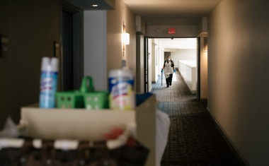 A housekeeper and cleaning supplies at the Hilton McLean Tysons Corner in McLean, Va, July 17, 2020. The New York Times