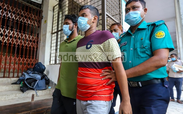 Suspects in the murder of BUET student Abrar Fahad are taken to Speedy Trial Tribunal on Sep 15, 2020. A Dhaka court opened the trials of 25 people with alleged ties to the murder of Fahad. Photo: Asif Mahmud Ove