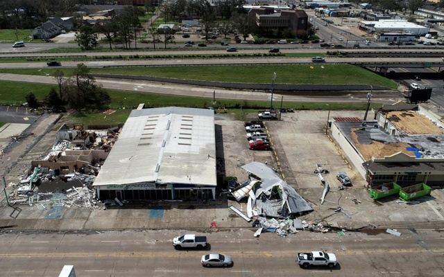 Buildings damaged by Hurricane Laura are seen in an aerial photograph in Lake Charles, Louisiana, US, August 30, 2020. REUTERS