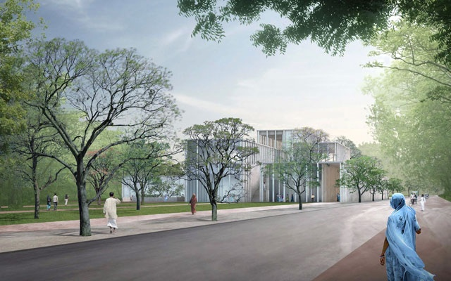 A rendering provided by David Chipperfield Architects shows the planned museum in Agra, India, on the Mughal rulers and their culture. The museum is to be renamed for a Hindu warrior-king and refocused on Hindu history, as a nationalist revival sweeps the country. David Chipperfield Architects via The New York Times