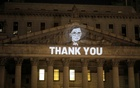 An image of Associate Justice of the Supreme Court of the United States Ruth Bader Ginsburg is projected onto the New York State Civil Supreme Court building in Manhattan, New York City, US after she passed away September 18, 2020. REUTERS