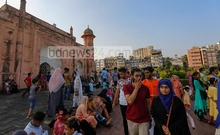 Most of the visitors at Lalbagh Fort showed no respect for health rules amid the coronavirus outbreak. Photo: Mahmud Zaman Ovi