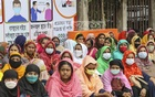 Workers of A-One Garments based in Dhaka EPZ stage a protest in front of the National Press Club, demanding the payment of their salaries and allowances, Sept 21, 2020. Photo: Asif Mahmud Ove
