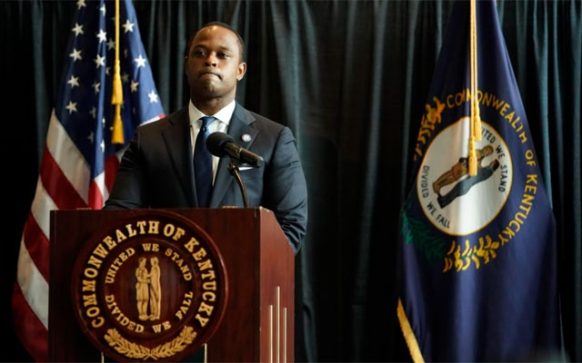 Kentucky Attorney General Daniel Cameron addresses a news conference in Frankfort, Ky., on Wednesday, Sept. 23, 2020, announcing that a grand jury indicted former Louisville police officer Brett Hankison with wanton endangerment for his actions on the night of the shooting that killed Breonna Taylor. The decision came after more than 100 days of protests and a months long investigation into the death of Taylor, a 26-year-old emergency room technician who was shot in the hallway of her apartment by officers executing a search warrant. (Whitney Curtis/The New York Times)