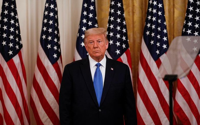 US President Donald Trump attends a veterans event in the East Room at the White House in Washington, US, September 23, 2020. REUTERS