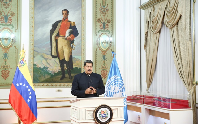 Venezuela's President Nicolas Maduro speaks virtually during the 75th annual UN General Assembly, which is being held mostly virtually due to the coronavirus disease (COVID-19) pandemic, from Miraflores Palace in Caracas, Venezuela September 23, 2020. Miraflores Palace/Handout via REUTERS