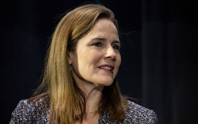 FILE -- Judge Amy Coney Barrett addresses a Federalist Society convention at the Mayflower Hotel in Washington, Nov 15, 2019. President Donald Trump has selected Barrett, a favourite candidate of conservatives, to succeed Justice Ruth Bader Ginsburg and will try to force Senate confirmation before Election Day, the New York Times reported on Friday, Sept 25, 2020. (Samuel Corum/The New York Times)