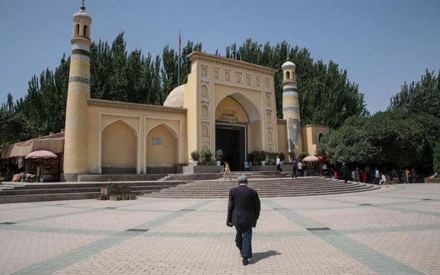 A lone Uighur man heading to a mosque in Kashgar, Xinjiang, on Aug. 9, 2019. The New York Times