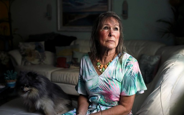 Annrene Rowe at her home in Anna Maria, Fla, on Sept 18, 2020. Rowe was hospitalised for 12 days with coronavirus symptoms earlier this year; since then, she has noticed her hair falling out in clumps. Eve Edelheit/The New York Times