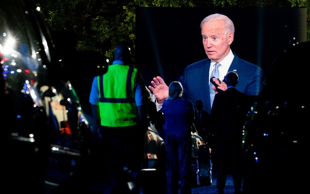FILE -- Joe Biden, the Democratic presidential nominee, is seen on a screen as he takes part in a CNN town hall event in Scranton, Pa, Sept 17, 2020. Given Biden's current edge, his advisers have been downplaying the debate's significance even as the former vice president plunges himself into preparations. (Erin Schaff/The New York Times)