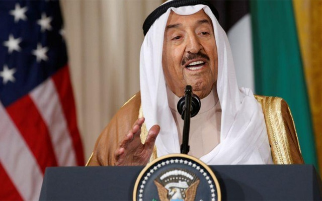Kuwait's Emir Sheikh Sabah Al-Ahmad Al-Jaber Al-Sabah addresses a joint news conference with US President Donald Trump in the East Room of the White House in Washington, US, September 7, 2017. Reuters