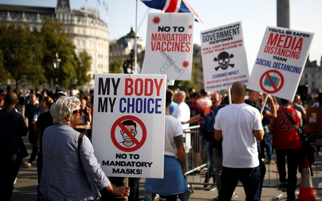 Hundreds rallied in Trafalgar Square in London this month to protest Britain's coronavirus restrictions. Henry Nicholls/Reuters