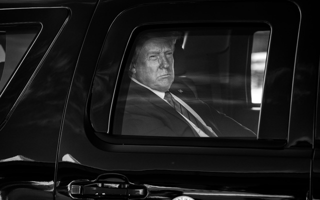 President Donald Trump in the presidential limo at Joint Base Andrews in Maryland, Sept 12, 2020. The New York Times