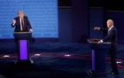 US President Donald Trump and Democratic presidential nominee Joe Biden participate in their first 2020 presidential campaign debate held on the campus of the Cleveland Clinic at Case Western Reserve University in Cleveland, Ohio, Sept 29, 2020. REUTERS