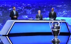 Football - Champions League - Group Stage Draw - Geneva, Switzerland - October 1, 2020 Didier Drogba and UEFA General Secretary and Director of Football Giorgio Marchetti during the draw UEFA Pool/Handout via REUTERS