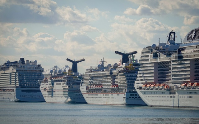 Cruise ships docked at the Port of Miami on Saturday, April 4, 2020. The New York Times