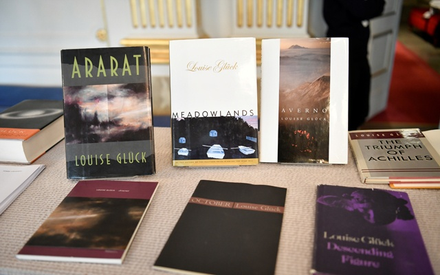 Books of American poet Louise Gluck during the announcement of 2020 Nobel Prize in literature at Borshuset in Stockholm, Oct 8, 2020. Gluck won the prize. REUTERS
